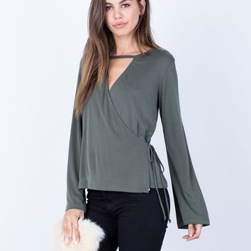 Side Tie Wrapped Blouse