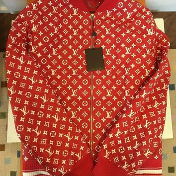 One-nice™ SUPREME X LOUIS VUITTON RED LEATHER BLOUSON BOMBER MONOGRAM JACKET SIZE 54