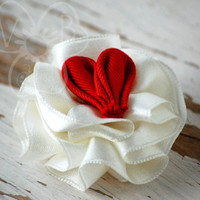 Red Queen of Hearts ribbon ruffle hair or clothing accessory