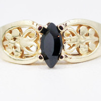 Black CZ 14k Yellow Gold Marquis Filigree Ring, Solid 14 Karat Gold Ring, Yellow Gold Black CZ Ring
