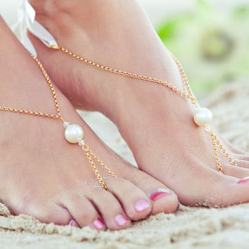 Bridal beach shoes, foot jewelry, beach wedding barefoot sandles, bridesmaid jewelry, toe ring anklet, bollywood jewlery. MELINDA Gold
