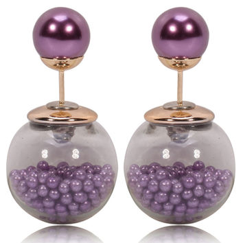 Gum Tee Tribal Earrings - Caviar Collection Purple