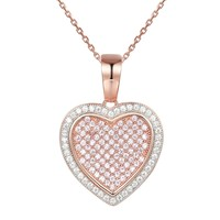 14k Rose Gold Finish Petite Double Heart Pendant Valentine's
