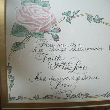 Corinthians Bible Verse Faith Hope and Love  Calligraphy Sign Embossed Picture Christian Home Decor Engagement Wedding or Anniversary Gift