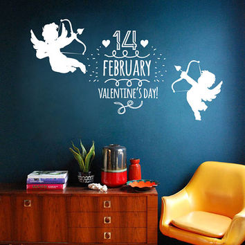Happy Valentines Day Wall Decal, Cupid Angels Wall Sticker, Valentine's Day Wall Decor, Lovely Valentines Day Quote Wall Art Mural  se103