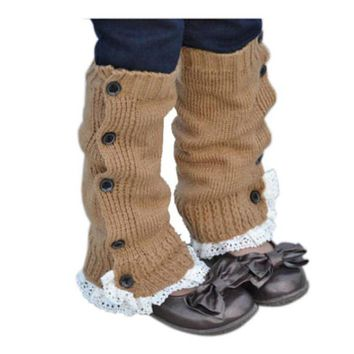 baby Lace flat leg warmers Acrylic Winter Kids Girl Princess Crochet Long Warmer Socks Knitted Lace Boot Cuffs Toppers Leg 32cm