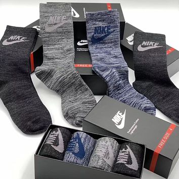 Nike Men Fashion Casual Sport 100% Cotton Socks+Gift Box