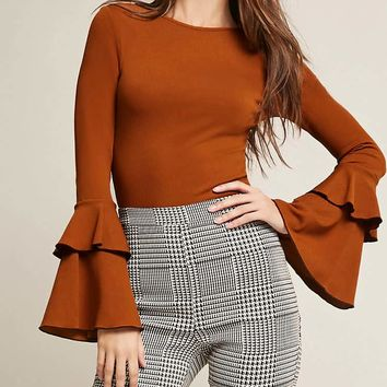 Ribbed Knit Flounce-Sleeve Top