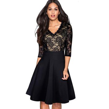 Women Elegant Vintage Lace See Through Sleeve Casual Party Special Occasion Work Office Tunic Pinup A-line Skater Dress EA062
