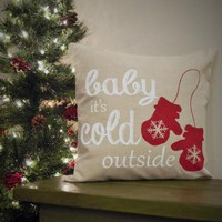 Baby its cold outside Pillow Cover - Christmas decor