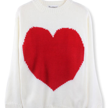 'The Joni' Red Heart Printed Knitted  Sweater