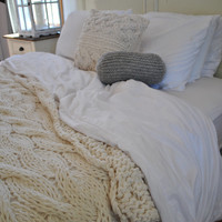 Chunky Cable Knit Blanket in Cream Irish Wool Throw, Twin, Full Queen, King Bed Size MADE TO ORDER