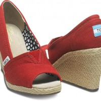 Red Canvas Wedges | TOMS.com