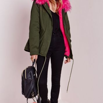 Missguided - Fur Hood Short Parka Coat Khaki/Hot Pink