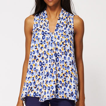 Abstract Pattern V Neck Top