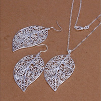 Korean Style Ring Necklace Exquisite Hollow Leaf Shape Pendant 925 Silver Plated Jewelry Set Nice Gift for Girls