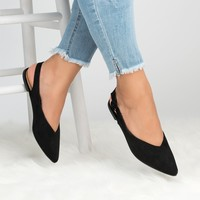Slingback Pointed Flats - Black