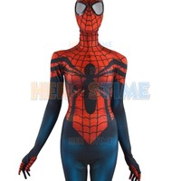 Red Blue Spider-Girl Costume Mayday Parker Morph Fullbody Suit