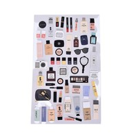 VONC1Y 1 sheet DIY scrapbooking diary sticker post it  calendar paper sticker kawaii Make Up Cosmetic Style stationery toy for kids