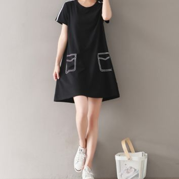 RETRO LOOSE STUDENT COTTON DRESS SHORT SLEEVE POCKET PRINTING