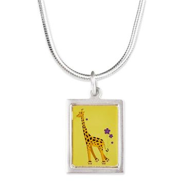 Yellow Cute Smiling Giraffe Necklaces Silver Portrait Necklace  on CafePress.com