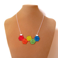 Rainbow Rhinestone Molecule Necklace, Colorful Crystal Geometric Necklace, Simple and Colorful Rhinestone Chain Necklace