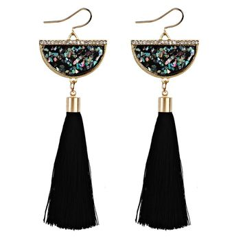 Vintage Women Bohemian Earrings Long Tassel Fringe Dangle Earrings