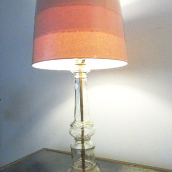 Mid Century Italian Glass Table Lamp Modern Drum Shade
