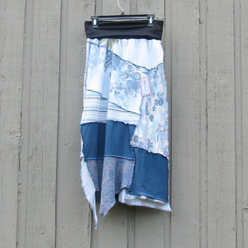 Women's L/XL Upcycled, OOAK, funky, fun,  t-shirt  maxi skirt with fold over yoga waist, all blues knits