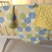 Yellow, Blue and Mint Dot Minky Taggie Toddler Quilt, Security Blanket - Lovey - 2 Layer Minky, Carseat, Cradle, Stroller Blanket