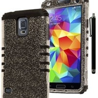 Galaxy S5 Case, Bastex Hybrid Protective Case - Soft Black Silicone Cover with Hard Clear Glitter Case for Samsung Galaxy S5 [Includes a Stylus]