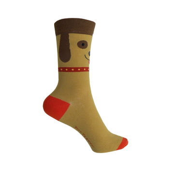 Dog Face Crew Socks in Brown