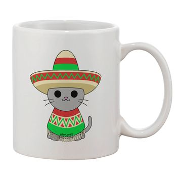 Cat with Sombrero and Poncho Printed 11oz Coffee Mug by TooLoud