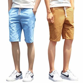 Solid Mens Shorts Casual Cotton Slim Bermuda Masculina Beach Shorts Classic Knee Length Shorts