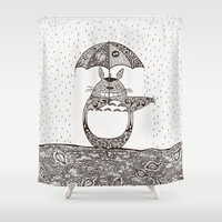 Happy Totoro Shower Curtain by Paula Belle Flores
