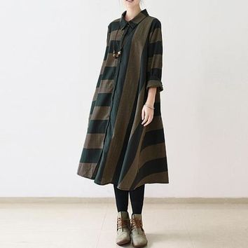 Vintage Women Turn-down Collar Long Sleeve Striped Irregular Loose Casual Midi Shirt Dress