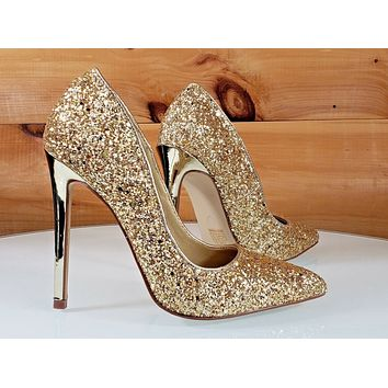Red Cherry Gold Glitter Pointy Toe Pump 4.5
