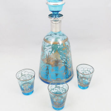 "Blue Glass Silver Overlay Decanter and Glasses, Vintage Venetian Design, 9"" Tall Decanter"