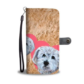 Cute Havanese Dog In Heart Print Wallet Case-Free Shipping
