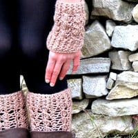 Boot Cuff and Gloves - Tan Beige Short Square Knit Boot Cuffs. Short Leg Warmers. Crochet Boot Cuffs. Legwear