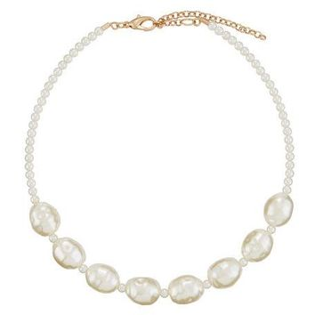 Berry Jewelry Simulated Pearl Choker Necklace, Ivory