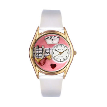 Whimsical Watches Healthcare Nurse Appreciation Gift Accessories Red White Leather And Goldtone Watch