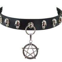 Gothic Punk Rock Emo Pentagram Charm Skull Stud Leather Choker Collar Necklace