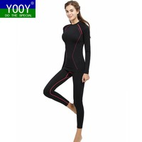 YOOY Women's Winter Gear Ski Thermal Underwear Sets Long Sleeve Top Exercise Clothes Sports Hose Snowboarding Shirts And Pants
