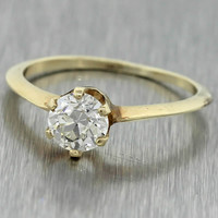 1900s Antique Victorian 14K Yellow Gold .79ctw Solitaire Diamond Engagement Ring