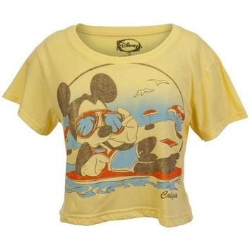DCCK8UT Mickey Mouse California Beach Juniors Half T-Shirt