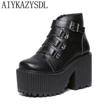 AIYKAZYSDL Fall Ankle Boots Women Gladiator Strappy Platform Wedge Thick Sole High Heel Creepers Heavy Rock Motorcycle Shoes