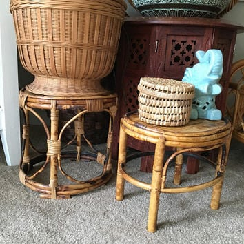 Vintage Indoor Plant Stand, Vintage Rattan Pot Stand, 1970s Handmade Cane Plant Holder, Tabletop Plant Stand, Tortoise Bamboo Small Table