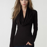 Drape Neckline Long Sleeve Shawl Collar T-Shirt