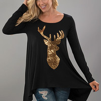 Sequined Reindeer Tunic Top - Black